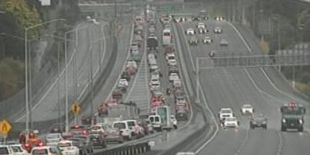 The traffic camera on SH1 at Tristram Ave shows traffic backed up into the city. Photo / NZTA
