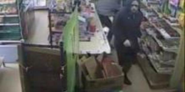 Police have released CCTV footage of three men robbing a Waikato dairy with a pistol, golf club and another weapon on February 7. Photo / Supplied.