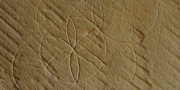 This hexafoil or daisy wheel was found on the wall in the stables of Shene Estate, the Tasmanian country residence of a colonial lawyer whose brother-in-law had died from drowning. Photo / Facebook