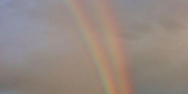A rare double rainbow over Wellington last night. Photo / Tracy McAra