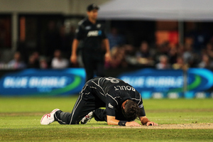 Trent Boult reacts after missing a run out. Photosport