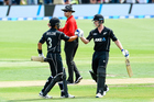 Ross Taylor of the Black Caps celebrates his century with Jimmy Neesham. Photo / Photosport