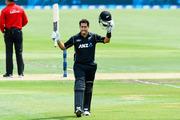 Ross Taylor celebrates his 17th ODI hundred. Photosport
