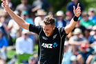 Tim Southee of the Black Caps celebrates the wicket of Hashim Amla. Photosport