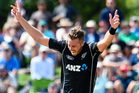 Tim Southee of the Black Caps celebrates the wicket of Hashim Amla. Photo / Photosport