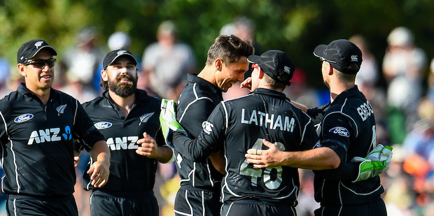 Trent Boult of the Black Caps gets the wicket of AB de Villiers. Photosport