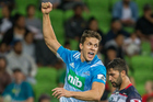 Matt Duffie celebrates after scoring a try against the Rebels. Photo / Photosport