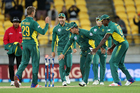 South Africa captain AB de Villiers takes the last wicket. Photo / Photosport
