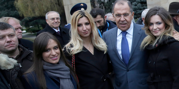 Alleged plotter Nemanja Ristic, far left, is seen in a photograph with Russian foreign minister Sergey Lavrov, second right. Photo / AP