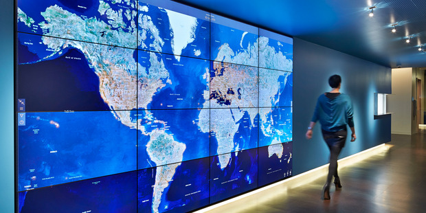 The threat map at Microsoft's cybercrime centre in the US. Picture / Microsoft