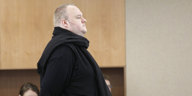 Kim Dotcom appearing in Auckland District Court for the decision on his extradition in December 2015. Photo / Nick Reed