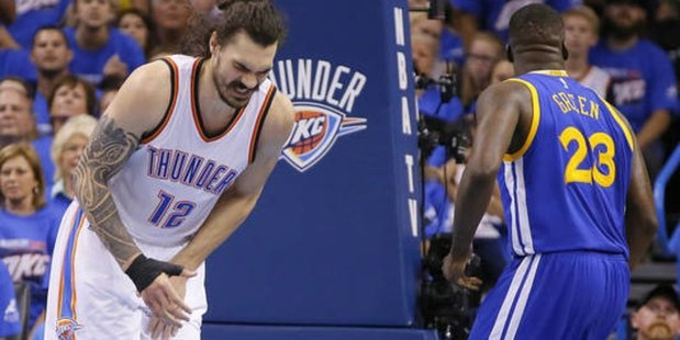 Kiwi Steven Adams gathers himself, after being kicked in the crown jewels by Golden State rival Draymond Green. Photo/Twitter
