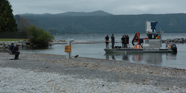 Searchers are concentrating their focus around a rip were the Waitahanui River meets Lake Taupo. PHOTO / LAURILEE MCMICHAEL