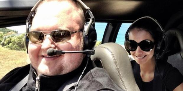 Kim Dotcom with ex-wife Mona in a helicopter. The entrepreneur has blamed pressure from the case impacting on their relationship. Photo / Supplied