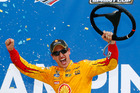 Joey Logano celebrates in Victory Lane after winning. Photo / Getty Images