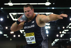 Tom Walsh competes during the IAAF World Indoor Championships in Portland. Photo / Getty Images