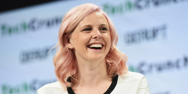 Founder of Her Robyn Exton speaks at a tech convention in New York. Photo / Getty Images