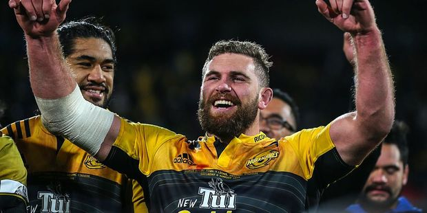 Callum Gibbons celebrates winning the Super Rugby title. Photo / Getty