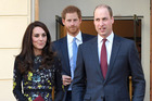 Catherine, Duchess of Cambridge, Prince Harry and Prince William, Duke of Cambridge. Photo / Getty Images
