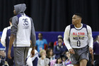 Kevin Durant of the Golden State Warriors and Russell Westbrook of the Oklahoma City Thunder attend practice for the 2017 NBA All-Star Game. Photo/Photosport