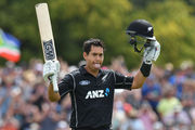 Ross Taylor of New Zealand celebrates his century. Photo / Getty