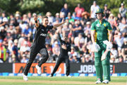 Trent Boult of New Zealand celebrates after dismissing AB de Villiers of South Africa. Photo / Getty