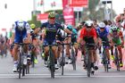 Caleb Ewan (centre) celebrates, not realising he has been beaten at the line by Marcel Kittel (left). Photo / Getty