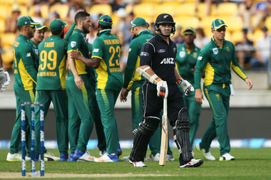 Tom Latham departed early for a duck as South Africa ran through the Black Caps' top order. Photo / Getty