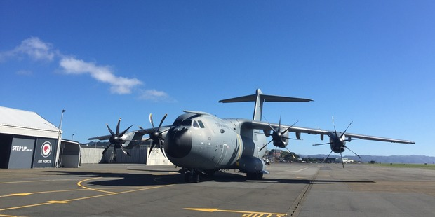 The A400M ready for take off in Wellington. Photo / Grant Bradley