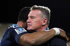 Blues coach Sir John Kirwan Blues hugs Jerome Kaino following the Super Rugby game against Crusaders. Photo/Photosport