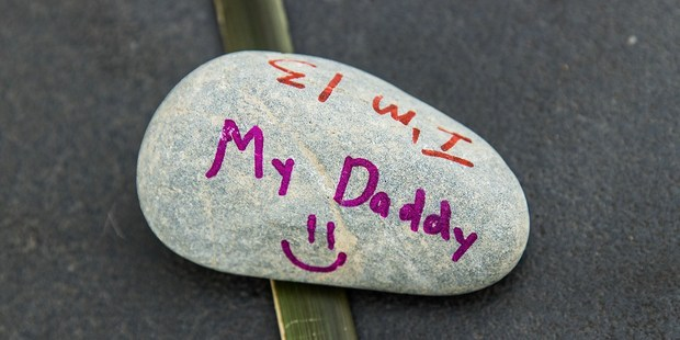 A message from a child to their father at the Canterbury Earthquake National Memorial. Photo / Martin Hunter, Christchurch Star