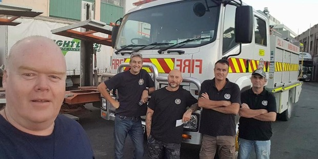 Phil Muldoon and the crew before heading down to assist the Port Hills efforts. Photo/Facebook