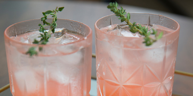 Peach and thyme Tom Collins. Photo / Nick Reed.