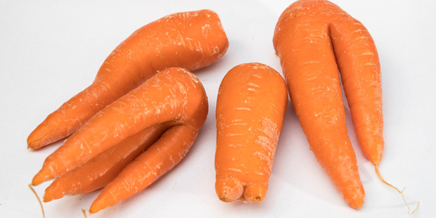 Nutritionally, of course, a bent-out-of-shape carrot is just the same as a perfectly cylindrical one. Photo / Jason Oxenham