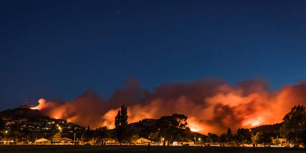 Loading Port Hills fire, earlier this week. Photograph supplied by Mark Hannah Photography.