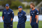 Craig McMillan, Mike Hesson and Kane Williamson during a rain delay in Napier. Photosport.co.nz
