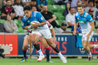 Rieko Ioane on the charge in Thursday's Blues v Rebels game. John O'Neill has accused Super Rugby organisers of trying to please everyone, including World Rugby. Photo / photosport.co.nz