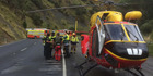 The Waikato Westpac Rescue Helicopter at the fatal crash on SH3 north of Awakino yesterday. Picture / Philips Search & Rescue Trust