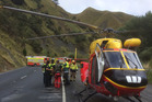 The Waikato Westpac Rescue Helicopter at the fatal crash on SH3 north of Awakino earlier today. Picture / Philips Search & Rescue Trust