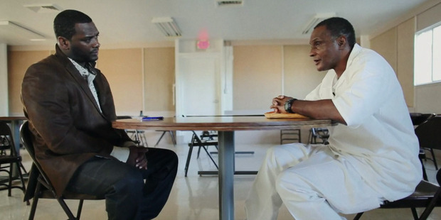 Former Texas State prisoner Chris Scott (left) meets with Alonzo Hardy, the man who actually committed the crime for which Scott was found guilty. Photo / Supplied