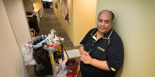 Cleaner Malia Langi is still on minimum pay because Auckland Council doesn't pay its contractors a living wage.   Photo / Brett Phibbs