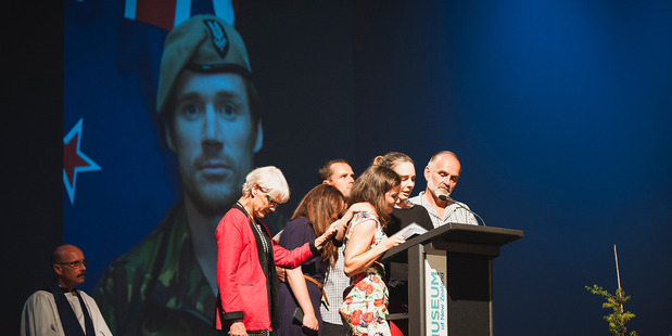 Loading Steve Askin's family delivered an emotional tribute at his funeral in Wigram today. Picture / NZDF