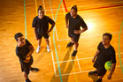 From left, Joshua Vercoe, Poutewha Te Kaawa, Teaku Tuilave and Caleb Vercoe. Mens' netball team representatives. 21 February 2017 Daily Post photograph by Stephen Parker