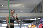 Olympic bronze medallist Eliza McCartney competes in a pop-up pole vault competition at Britomart train station. Photo/Michael Craig