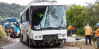 The recovered bus that crashed into steep bush near Akaroa. Photo / Martin Hunter