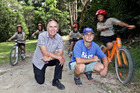 Principal Richard Inder and Teacher/Bikes in Schools Ambassador Jacob Cross check out new mountain bike track at the back of Gate Pa School. Photo/Andrew Warner