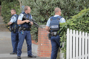Armed police on Woodley Ave Remuera after reports of gunshots in the area New Zealand. Photo / Michael Craig
