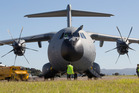 The RAF Airbus A400M at Wellington Airport. It will be at Ohakea this weekend. Photo / Mark Mitchell