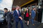 Andrew Little walks with MP Jacinda Ardern along Sandringham road. Photo / Nick Reed