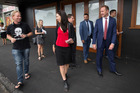 Labour leader Andrew Little walks with MP Jacinda Ardern along Sandringham Rd today chatting with residents and local businesses about tomorrow's Mount Albert byelection. Photo / Nick Reed